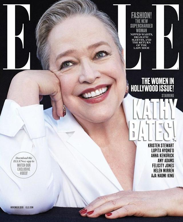<p>Bates was on the cover of <em>Elle</em>'s November 2016 issue at 68 years old. (Photo: Elle) </p>