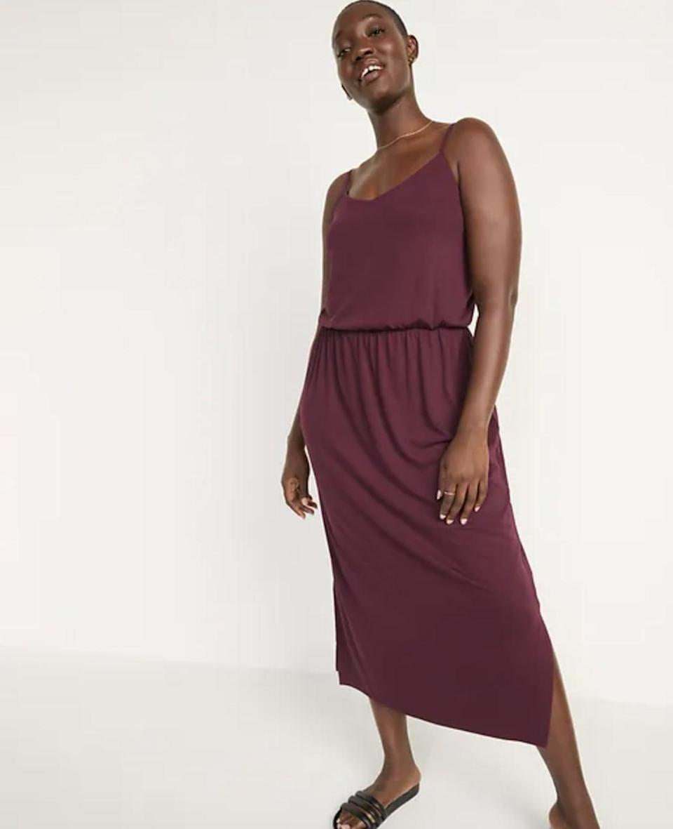 <p>This rich <span>Old Navy Sleeveless Waist-Defined Slub-Knit Midi Dress</span> ($33-$35, originally $35) is so pretty, whether you're wearing it to lounge or to lunch. The color is particularly fall-friendly.</p>