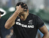 <p>Rieko Ioane of New Zealand reacts after a loss to Fiji in a men's rugby quarterfinal at the Rio Olympics on August 10, 2016. (REUTERS/Phil Noble) </p>