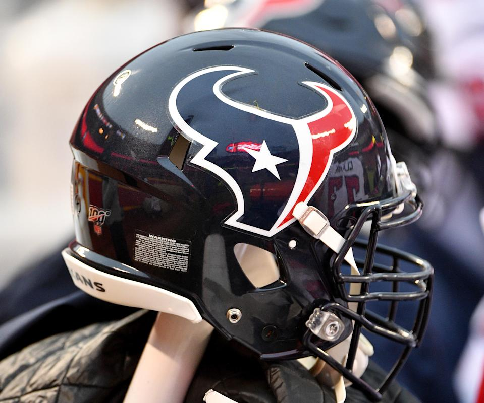 Jan 12, 2020; Kansas City, Missouri, USA; A general view of a Houston Texans helmet during the AFC Divisional Round playoff football game against the Kansas City Chiefs at Arrowhead Stadium. Mandatory Credit: Denny Medley-USA TODAY Sports