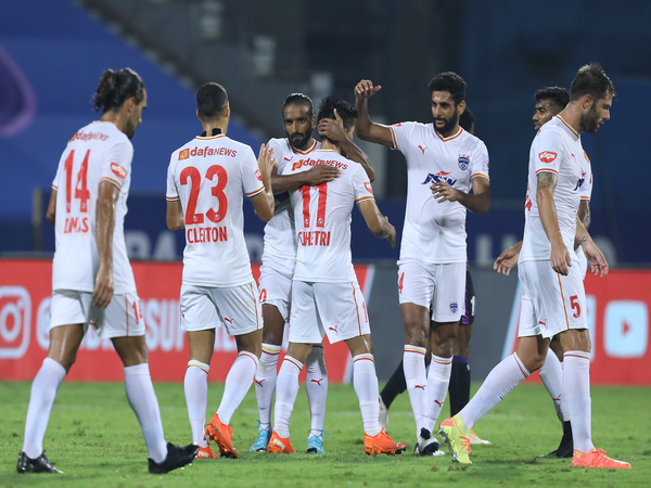 BFC teammates celebrate after Sunil Chettri scored the opening goal against OFC during ISL 7 match at the Bambolim Stadium on Thursday. (Photo/ ISL)