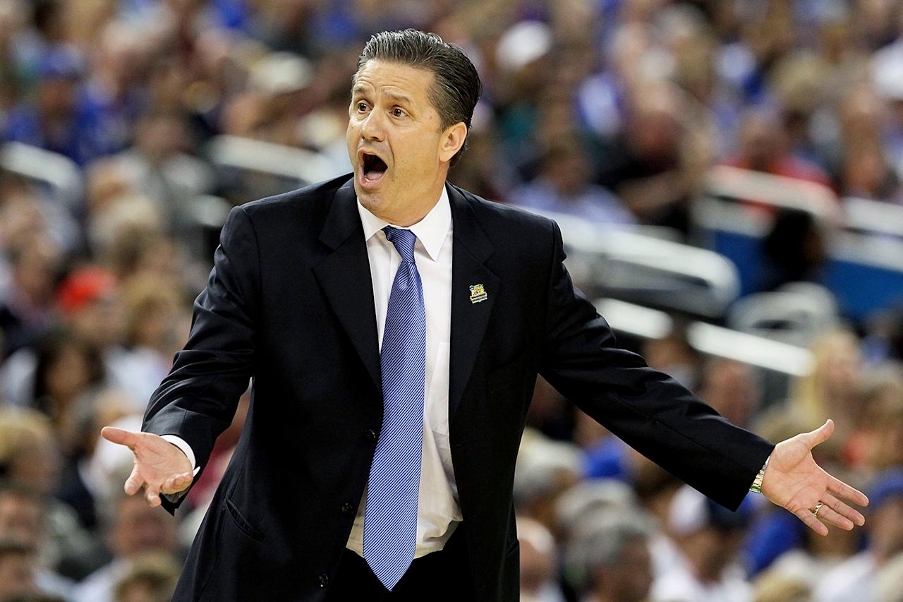Head coach John Calipari of the Kentucky Wildcats reacts in the first half while taking on the Kansas Jayhawks in the National Championship Game of the 2012 NCAA Division I Men's Basketball Tournament at the Mercedes-Benz Superdome on April 2, 2012 in New Orleans, Louisiana.  (Photo by Jeff Gross/Getty Images)