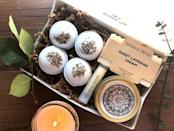 """<p><strong>herbsandtwine</strong></p><p>etsy.com</p><p><strong>$31.49</strong></p><p><a href=""""https://go.redirectingat.com?id=74968X1596630&url=https%3A%2F%2Fwww.etsy.com%2Flisting%2F623257403%2Flavender-spa-gift-set-lavender-bath-bomb&sref=https%3A%2F%2Fwww.womansday.com%2Flife%2Fg955%2Fcheap-gifts-for-women%2F"""" rel=""""nofollow noopener"""" target=""""_blank"""" data-ylk=""""slk:Shop Now"""" class=""""link rapid-noclick-resp"""">Shop Now</a></p><p>Go one step further in helping her relax by giving her a lavender-scented bath basket, filled with a hand-made candle, four mini bath bombs, a hand-crafted soap bar, and organic beeswax lip balm. It's also available in rose-scented!</p>"""