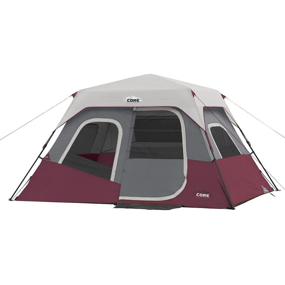 "<p>The whole family can fit in this <a href=""https://www.popsugar.com/buy/Core-Instant-Cabin-6-Person-Cabin-Tent-584747?p_name=Core%20Instant%20Cabin%206-Person%20Cabin%20Tent&retailer=homedepot.com&pid=584747&price=200&evar1=savvy%3Aus&evar9=47574161&evar98=https%3A%2F%2Fwww.popsugar.com%2Fphoto-gallery%2F47574161%2Fimage%2F47574162%2FCore-Instant-Cabin-6-Person-Cabin-Tent&list1=shopping%2Ccamping%2Csummer&prop13=api&pdata=1"" rel=""nofollow"" data-shoppable-link=""1"" target=""_blank"" class=""ga-track"" data-ga-category=""Related"" data-ga-label=""https://www.homedepot.com/p/CORE-Instant-Cabin-11-ft-x-9-ft-x-6-ft-6-Person-Cabin-Tent-with-Air-Vents-and-Loft-in-Red-CORE-40068/310616822"" data-ga-action=""In-Line Links"">Core Instant Cabin 6-Person Cabin Tent</a> ($200).</p>"