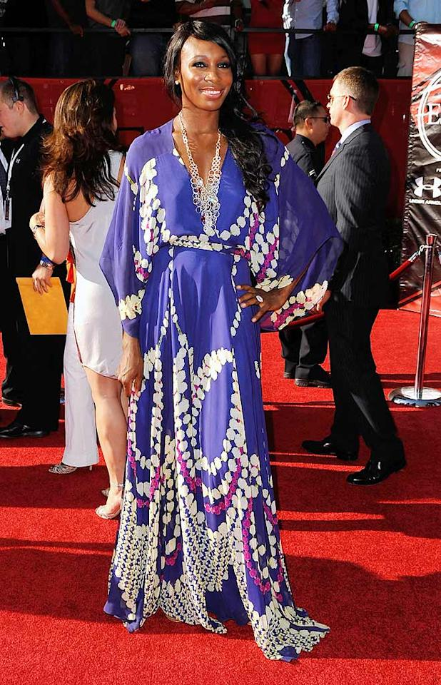 """Venus Williams wowed the crowd at the 17th Annual ESPY Awards in a magnificent Mara Hoffman silk chiffon maxi dress. The tennis ace completed her look with a statement necklace, cocktail ring, and side swept 'do. Jordan Strauss/<a href=""""http://www.wireimage.com"""" target=""""new"""">WireImage.com</a> - July 15, 2009"""