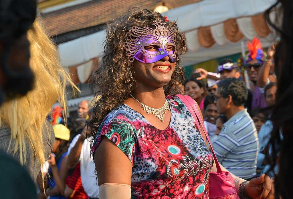 A reveller at the Goa Carnival 2013.