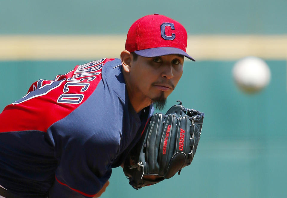 Cleveland Indians' Carlos Carrasco watches a pitch against the Milwaukee Brewers during the first inning of a spring training baseball game Friday, April 3, 2015, in Goodyear, Ariz. (AP Photo/Ross D. Franklin)