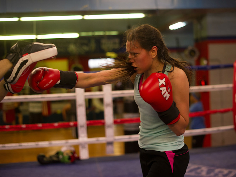 Woman boxing gym training