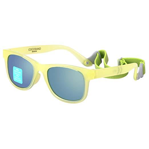 COCOSAND Toddler baby sunglasses with straps. BPA free, 0-24 months. 100% UVA, UVB protection.