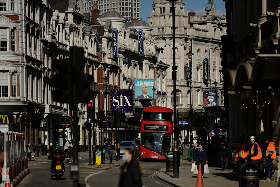 Theatres stand temporarily closed on Shaftesbury Avenue during England's third coronavirus lockdown (AP)