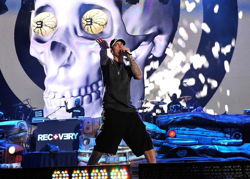"""Like Jay-Z, Eminem wore """"all black everything"""" during his almost two-hour set, which included """"The Real Slim Shady,"""" """"Cinderella Man,"""" """"Not Afraid,"""" and """"Lose Yourself."""" Kevin Mazur/<a href=""""http://www.wireimage.com"""" target=""""new"""">WireImage.com</a> - September 13, 2010"""