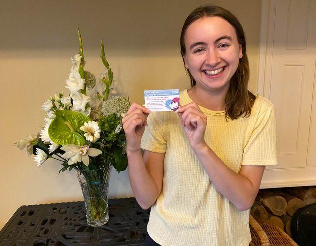 The author with her COVID-19 vaccination card in July. (Photo: Courtesy of Laura Purkess)