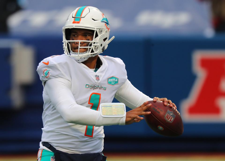 Tua Tagovailoa had an up-and-down rookie season for the Dolphins. (Photo by Timothy T Ludwig/Getty Images)