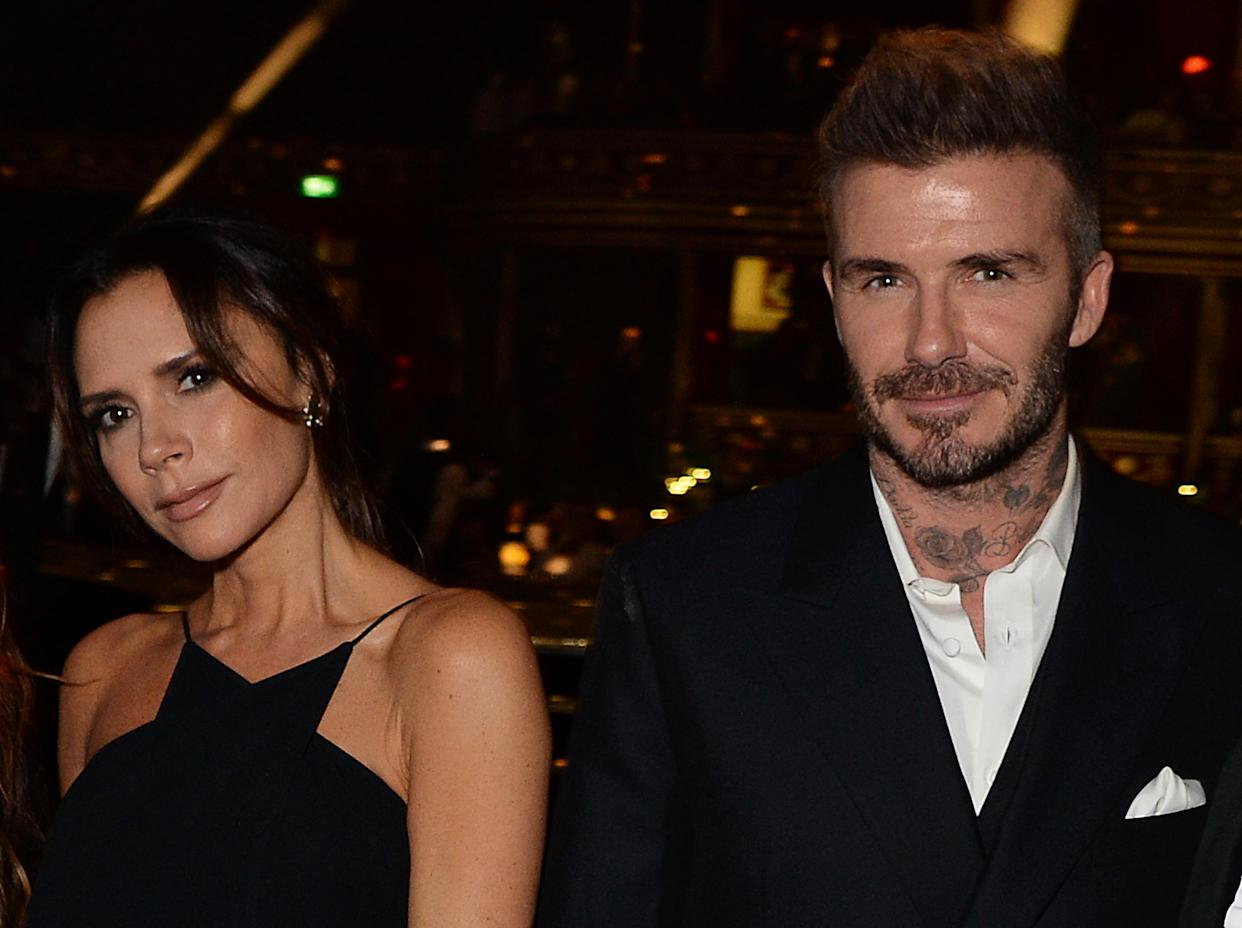 LONDON, ENGLAND - DECEMBER 10:  Victoria Beckham (L) and David Beckham attend The Fashion Awards 2018 in partnership with Swarovski at the Royal Albert Hall on December 10, 2018 in London, England.  (Photo by David M. Benett/Dave Benett/Getty Images)