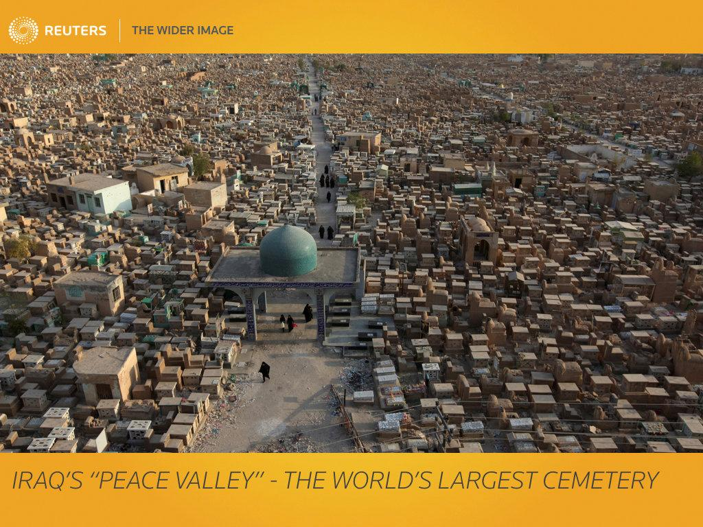 """The world's largest cemetery, in Iraq's Shi'ite holy city of Najaf, is expanding at double its usual rate as Shi'ite militias bury their dead from the war against Islamic State. The Wadi al-Salam cemetery, Arabic for """"Peace Valley""""  has a special place in the hearts of Shi'ite Muslims as it surrounds the Mausoleum of their first imam, Ali Bin Abi Talib, a cousin and son-in-law of Prophet Mohammad. The pace of daily burials rose to 150-200 after Islamic State, the ultra-hardline Sunni group overran a third of the country in 2014,  said Jihad Abu Saybi, a historian of the cemetery. The rate was 80-120 a day previously, he said. REUTERS/Alaa Al-Marjani     SEARCH """"IRAQ CEMETERY"""" FOR THIS STORY. SEARCH """"THE WIDER IMAGE"""" FOR ALL STORIES.  TPX IMAGES OF THE DAY    Matching text: MIDEAST-CRISIS/IRAQ-CEMETERY"""