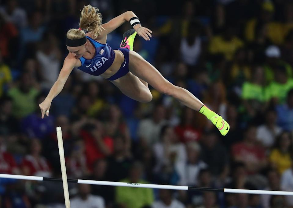 Sandi Morris of the USA competes in Women's Pole Vault Final of the Olympic Games 2016 Athletic, Track and Field events at Olympic Stadium during the Rio 2016 Olympic Games in Rio de Janeiro, Brazil, 19 August 2016. Photo: Michael Kappeler/dpa | usage worldwide   (Photo by Michael Kappeler/picture alliance via Getty Images)