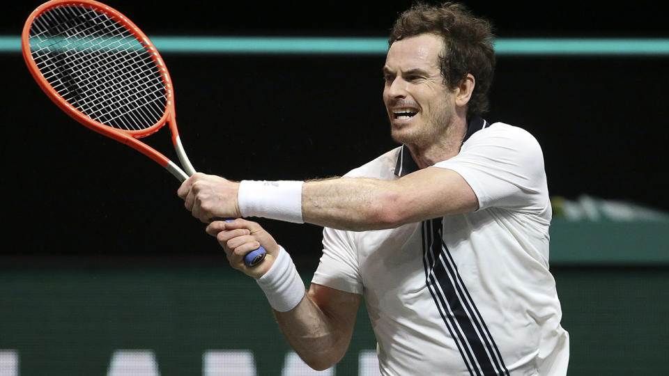 Andy Murray, pictured here in action against Andrey Rublev at the World Tennis Tournament.