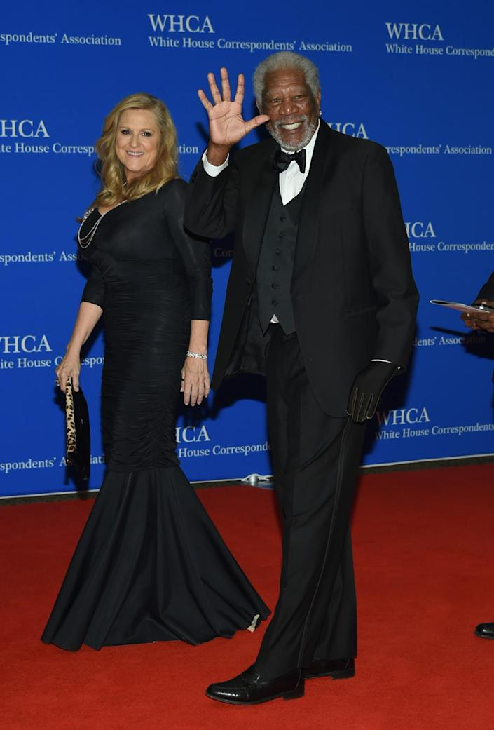 <p>Lori McCreary and Morgan Freeman arrive at the White House Correspondents' Dinner, April 30. <i>(Photo: Evan Agostini/Invision/AP)</i></p>