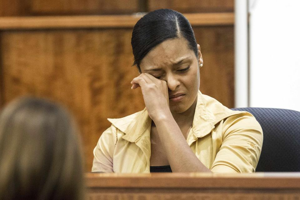 Shaneah Jenkins testifies during the murder trial of former New England Patriots tight end Aaron Hernandez at Bristol County Superior Court in Fall River, Massachusetts February 3, 2015. Hernandez is accused of murdering semi-professional football player Odin Lloyd in June, 2013. Hernandez has also has been accused of killing two men outside a Boston nightclub in 2012 following a dispute over a spilled drink. REUTERS/Aram Boghosian/The Boston Globe/Pool (UNITED STATES - Tags: CRIME LAW SPORT)