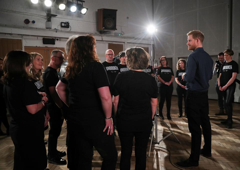 Harry met members of the Invictus Games Choir as they recorded a single for the Invictus Games Foundation (Photo: WPA Pool via Getty Images)
