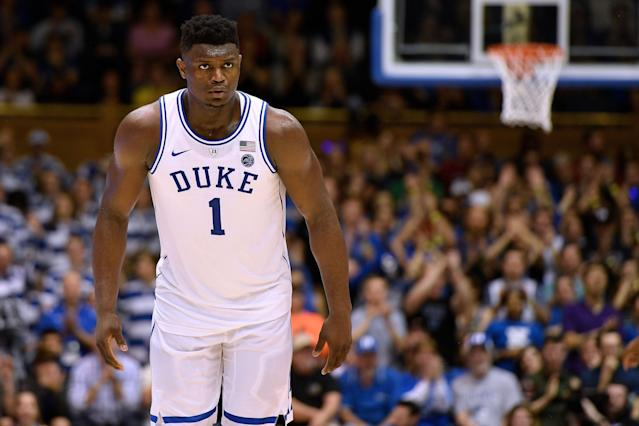 """<a class=""""link rapid-noclick-resp"""" href=""""/ncaab/players/147096/"""" data-ylk=""""slk:Zion Williamson"""">Zion Williamson</a> is expected to win National Player of the Year and return for the NCAA tournament. (Getty)"""