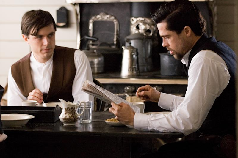 """FILE - This publicity file photo provided by Warner Bros. shows Casey Affleck, left, and Brad Pitt in """"The Assassination of Jesse James by the Coward Robert Ford."""" (AP Photo/Warner Bros./Kimberley French, File)"""