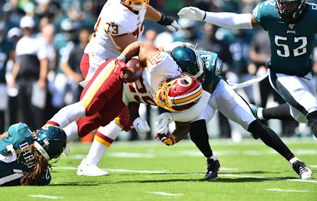 Washington running back Derrius Guice suffered a right knee injury in Sunday's loss in Philadelphia. (Getty Images)