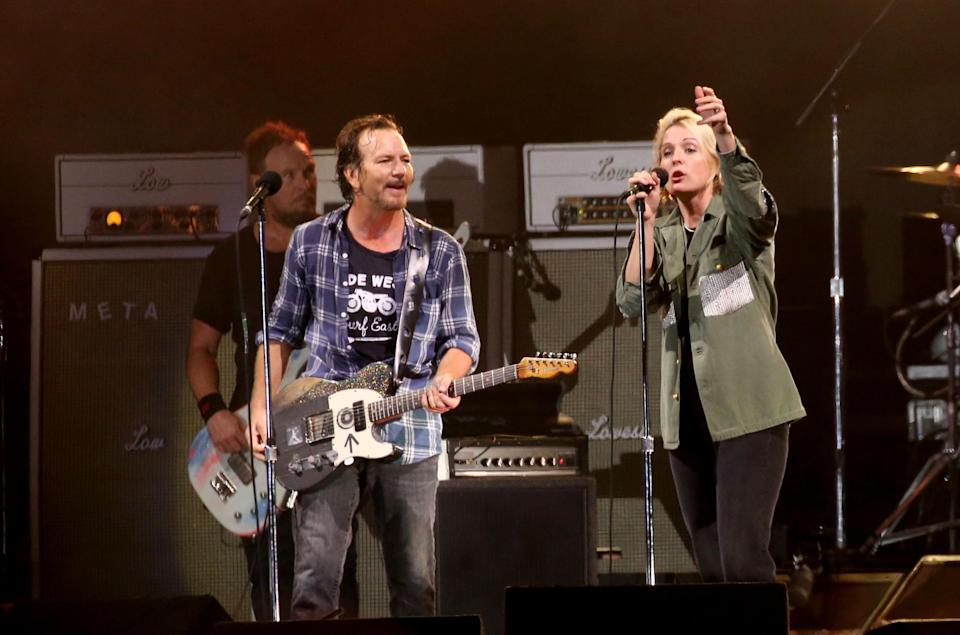 Brandi Carlile performs with Pearl Jam onstage during Ohana Fest at Doheny State Beach on September 26, 2021 in Dana Point, California. - Credit: Karl Walter for Variety