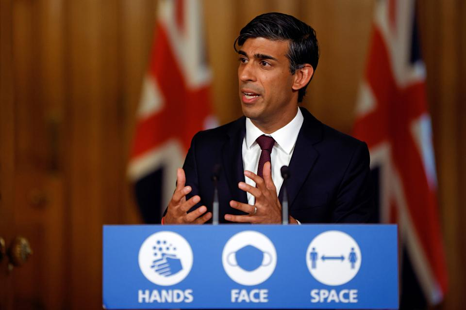 Britain's Chancellor of the Exchequer Rishi Sunak hosts a remote press conference to update the nation on his economic measures announced today during the covid-19 pandemic, inside 10 Downing Street in central London on September 24, 2020. - Britain on Thursday launched a coronavirus winter battle plan to protect jobs and boost the fragile economy, after surging infections sparked fresh nationwide measures to slow the spread. (Photo by JOHN SIBLEY / POOL / AFP) (Photo by JOHN SIBLEY/POOL/AFP via Getty Images)