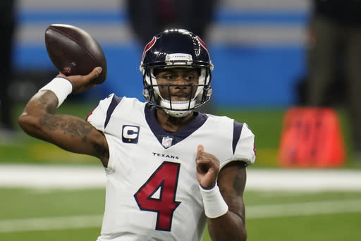 Houston Texans quarterback Deshaun Watson throws during the second half of an NFL football game against the Detroit Lions, Thursday, Nov. 26, 2020, in Detroit. (AP Photo/Paul Sancya)
