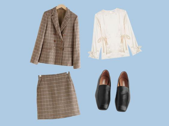 Wool Blend Plaid Blazer, £135, & Other Stories; Mini Pencil Skirt, £55, & Other Stories; Ivory Tie Side Top, £89, Topshop; Square Toe Leather Loafers, £135, Arket