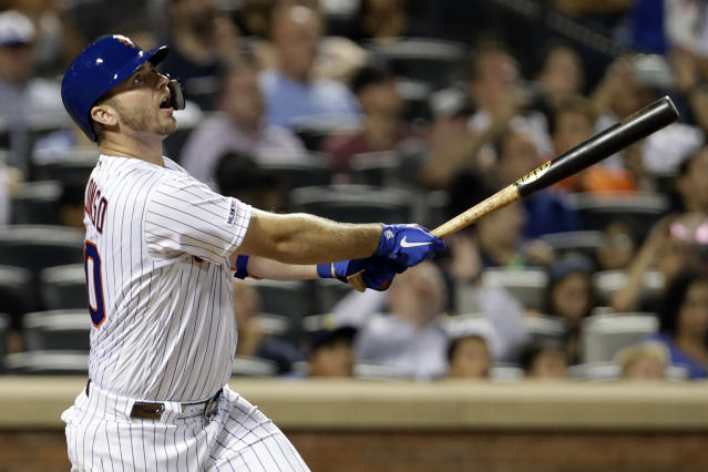 New York Mets' Pete Alonso follows through on his 53rd home run of the season during the third inning of a baseball game against the Atlanta Braves, Saturday, Sept. 28, 2019, in New York. (AP Photo/Adam Hunger)