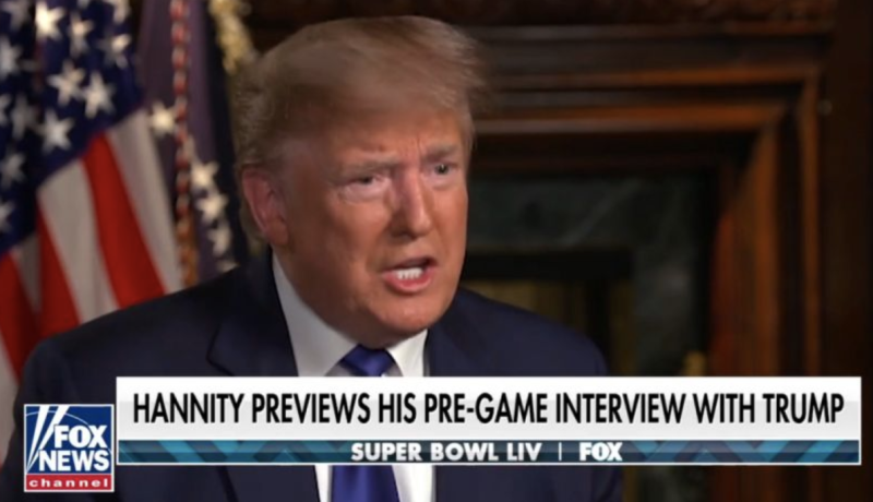 President Trump in a Super Bowl interview. (via screenshot)