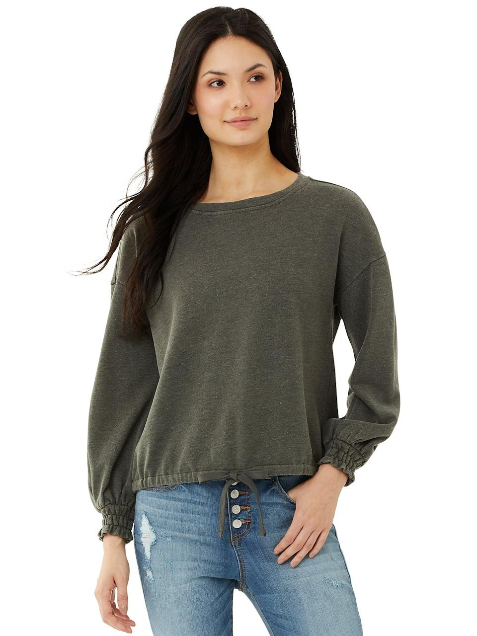 <p>The <span>Scoop Women's Round Neck Sweatshirt with Drawstring Waist</span> ($12, originally $28) is a great way to look put together while staying casual.</p>