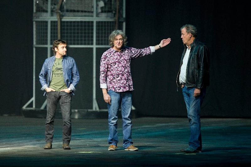 (From left) Richard Hammond, James May and Jeremy Clarkson of the British television series Top Gear, the world's most popular factual television programme, speak in Antwerp, Belgium, April 28, 2013 (AFP Photo/Kristof van Accom)