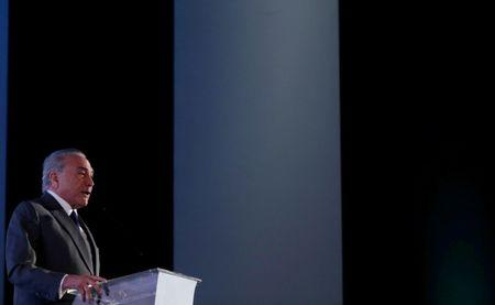 Brazil's President Michel Temer speaks during the Latin American Cities Conference in Brasilia