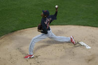 Cleveland Indians starter Triston McKenzie delivers a pitch during the first inning of a baseball game against the Chicago White Sox, Monday, April 12, 2021, in Chicago. (AP Photo/Paul Beaty)