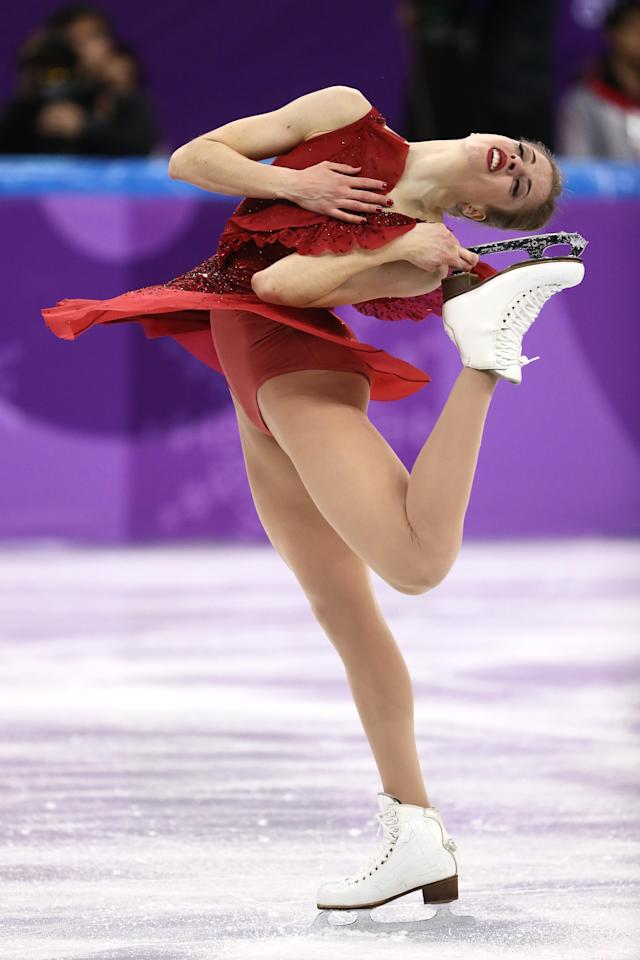 <p>Carolina Kostner of Italy competes in the Figure Skating Team Event – Ladies' Short Program on day two of the PyeongChang 2018 Winter Olympic Games at Gangneung Ice Arena on February 11, 2018 in Gangneung, South Korea. (Photo by Jamie Squire/Getty Images) </p>
