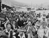 """<p>In October 1945, film workers conducted a strike against Warner Bros. Studio, picketing and fighting with the Burbank police. This was just <a href=""""https://animationguild.org/about-the-guild/warnerbros-terrytoons/"""" rel=""""nofollow noopener"""" target=""""_blank"""" data-ylk=""""slk:one of many labor strikes"""" class=""""link rapid-noclick-resp"""">one of many labor strikes</a> in the entertainment industry. </p>"""