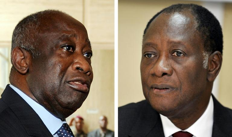 Former rivals: Gbagbo, left, and Ouattara