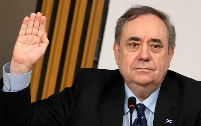 Alex Salmond giving evidence to the Holyrood inquiry on Friday - PA