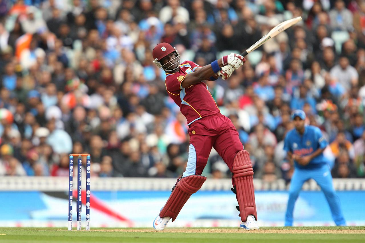 West Indies' Darren Sammy in action during the ICC Champions Trophy match at the Kia Oval, London.
