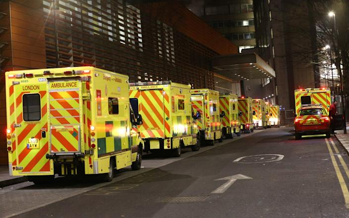 Ambulances queued outside the Royal London Hospital last night. England's hospitals now have more Covid-19 patients than during April's first-wave peak. - Yui Mok/PA Wire
