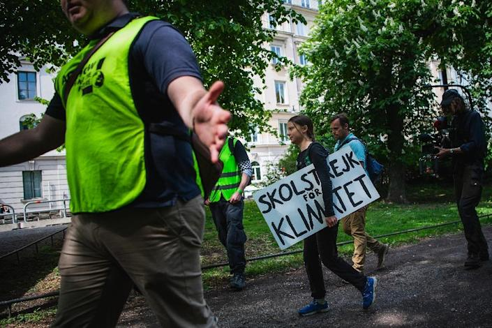 """The report highlighted how, for example, Germany's far-right AfD has dubbed teenage Swedish climate activist Greta Thunberg a """"child manipulated by 'eco-fascists'"""" (AFP Photo/Jonathan NACKSTRAND)"""