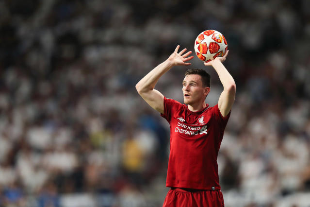 Andrew Robertson is one of Liverpool's throw-in specialists (Photo by Matthew Ashton - AMA/Getty Images)