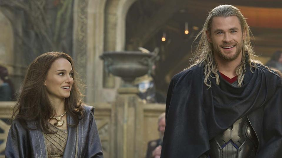 Natalie Portman and Chris Hemsworth in Thor (Credit: Marvel)