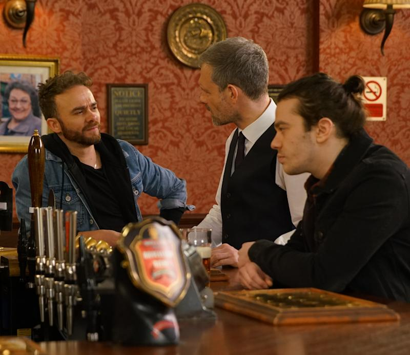 In the Rovers, David Platt [JACK P SHEPHERD] and Seb Franklin [HARRY VISINONI] row. When David accuses him of being jealous over Alina Seb sees red and punches David. (ITV Plc)