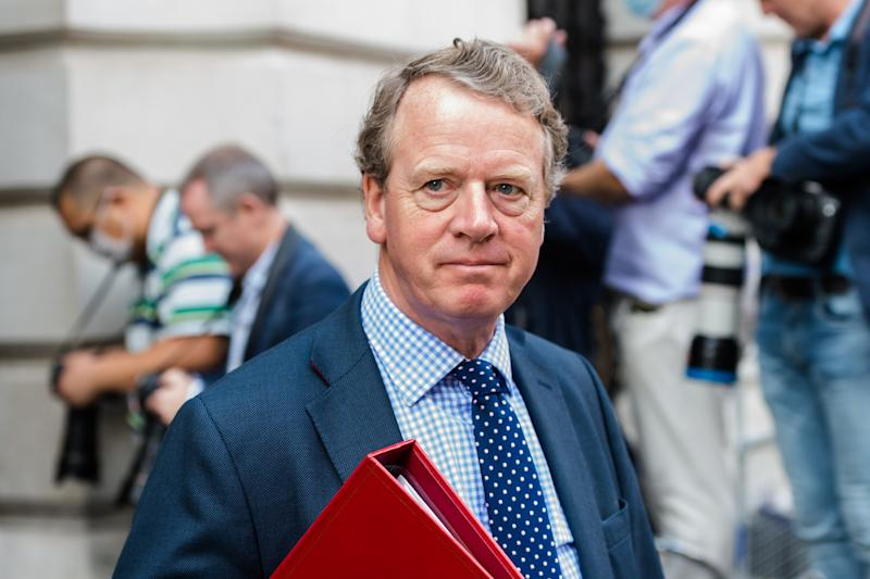 Secretary of State for Scotland Alister Jack leaves Downing Street in central London after attending Cabinet meeting temporarily held at the Foreign Office to comply with social distancing guidelines due to the ongoing coronavirus pandemic, on 15 September, 2020 in London, England. (Photo by WIktor Szymanowicz/NurPhoto via Getty Images)