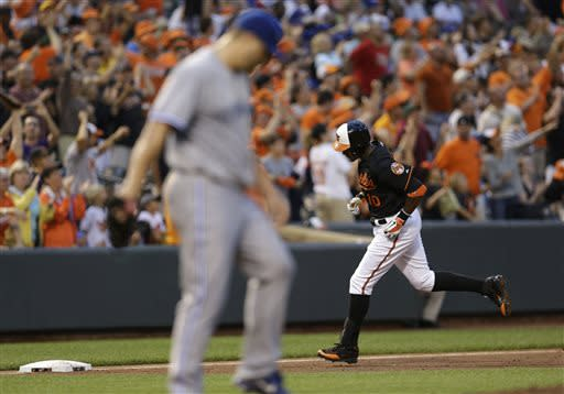 Baltimore Orioles' Adam Jones, back right, jogs past Toronto Blue Jays starting pitcher Mark Buehrle as he rounds the bases after hitting a three-run home run in the third inning of a baseball game, Friday, July 12, 2013, in Baltimore. (AP Photo/Patrick Semansky)