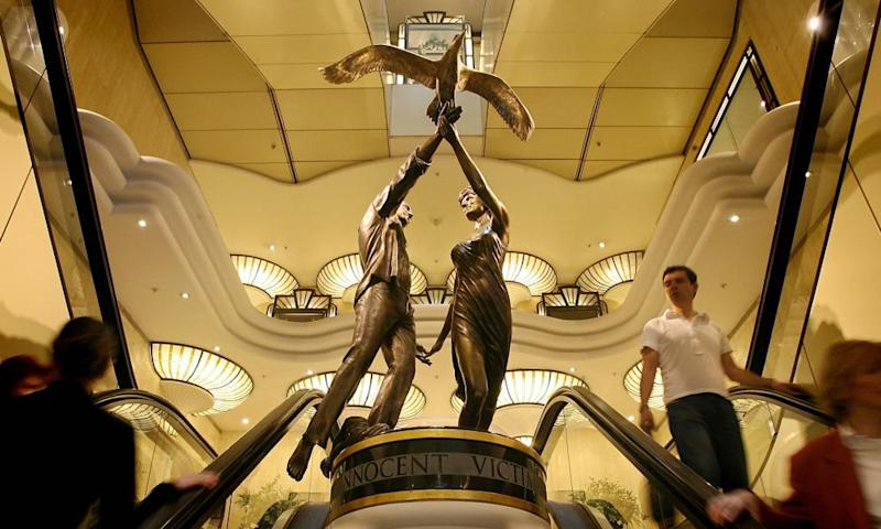 The bronze sculpture of Diana, Princess of Wales, and her partner Dodi Fayed has been on display at Harrods since 2005.